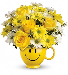 Teleflora's Be Happy Bouquet with Roses Local and Nationwide Guaranteed Delivery - GoFlorist.com