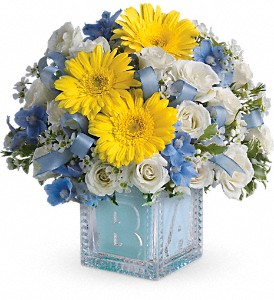 Baby's First Block by Teleflora - Blue in San Bruno CA, San Bruno Flower Fashions