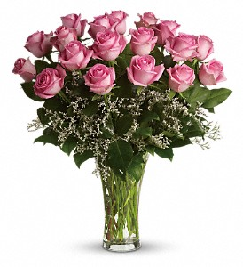 Make Me Blush - Dozen Long Stemmed Pink Roses in Houston TX, Simply Beautiful Flowers & Events