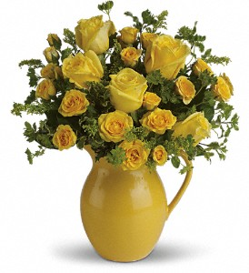Teleflora's Sunny Day Pitcher of Roses Local and Nationwide Guaranteed Delivery - GoFlorist.com