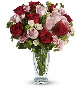 Cupid 39 s creation with red roses by teleflora in orangeville on orangevi - Bouquet de rose artificielle ...