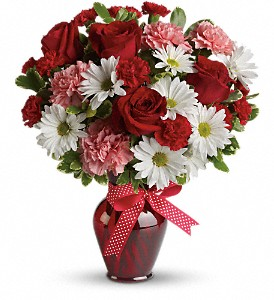 Hugs and Kisses Bouquet with Red Roses in Depew NY, Elaine's Flower Shoppe