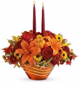 Teleflora's Amber Waves Centerpiece in Saginaw MI, Gaudreau The Florist Ltd.