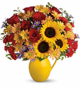 Teleflora's Sunny Day Pitcher of Joy in Martinsville IN, Flowers By Dewey