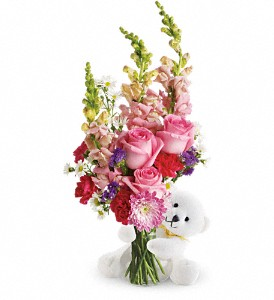 Teleflora's Bear Hug Bear with Pink Roses in Yakima WA, The Blossom Shop