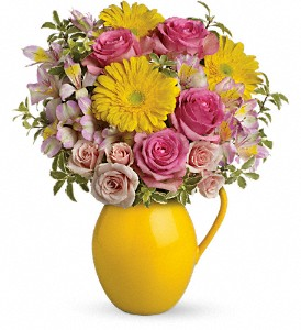 Teleflora's Sunny Day Pitcher Of Charm in Fremont CA, Kathy's Floral Design