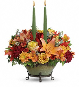 Teleflora's Golden Fall Centerpiece in Homer NY, Arnold's Florist & Greenhouses & Gifts