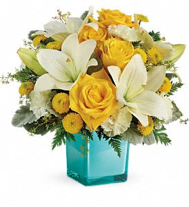 Teleflora's Golden Laughter Bouquet in Austin TX, Ali Bleu Flowers