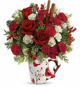 Send a Hug Christmas Cardinal by Teleflora in Denver CO, Lehrer's Flowers