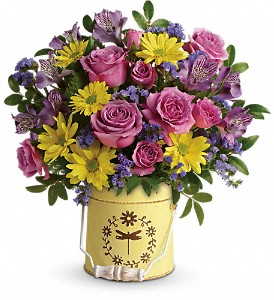 Teleflora's Blooming Pail Bouquet in Whittier CA, Scotty's Flowers & Gifts