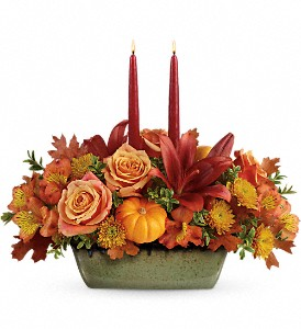 Teleflora's Country Oven Centerpiece in St. Michaels MD, Sophie's Poseys