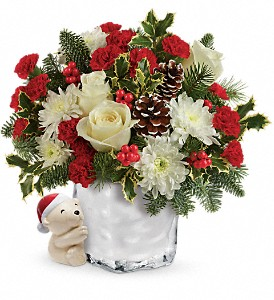 Send a Hug Bear Buddy Bouquet by Teleflora in Liverpool NY, Creative Florist