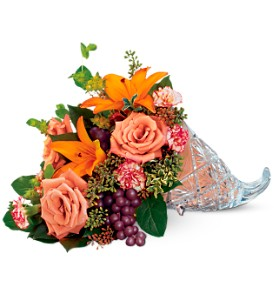 Teleflora's Waterford Crystal Cornucopia in Campbell CA, Bloomers Flowers
