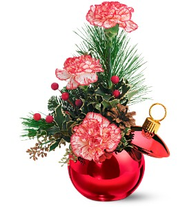 Teleflora's Merry Red Ornament Jar in San Angelo TX, Bouquets Unique Florist