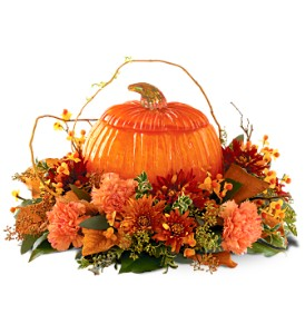 Teleflora's Art Glass Pumpkin in Buffalo Grove IL, Blooming Grove Flowers & Gifts