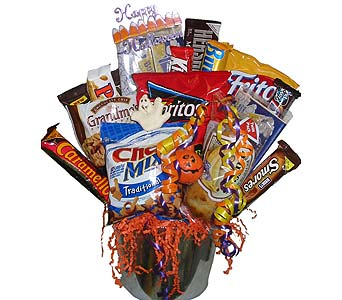HJF53 ''Treats Galore'' Snack Bouquet in Oklahoma City OK, Array of Flowers & Gifts