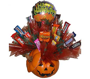 HCB61 ''Jack-O-Lantern'' Candy Bouquet in Oklahoma City OK, Array of Flowers & Gifts