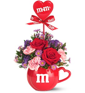 The Teleflora M&M's� Valentine Bouquet in Chesterfield SC, Abbey's Flowers & Gifts