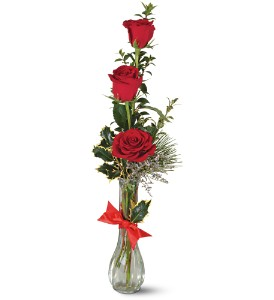 Teleflora's Rose Trio Vase in Merced CA, A Blooming Affair Floral & Gifts