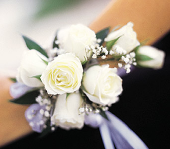 White Spray Rose Wrist Corsage in Philadelphia PA, Penny's Flower Shop