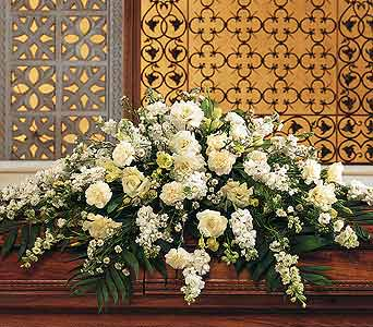Pure White Casket Spray in Norristown PA, Plaza Flowers