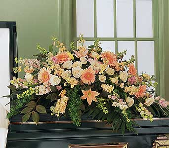 Peach Comfort Half-Couch Spray in Norristown PA, Plaza Flowers
