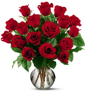 18 Red Roses in Santee CA, Candlelight Florist
