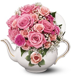 Teleflora's Capodimonte Teapot Bouquet in San Antonio TX, Flowers By Grace