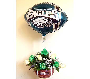 Eagles Football Bouquet with Mylar Balloon in Norristown PA, Plaza Flowers
