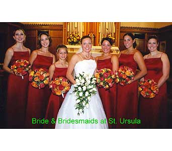 Fall wedding bouquets at St. Ursula Catholic Churc in Perry Hall MD, Perry Hall Florist Inc.