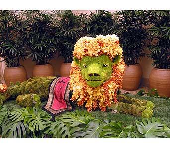 León floral muy realista. Mascotas florales.