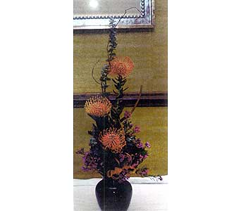 Vase of Pin Cushion Protea in Sioux Falls SD, Country Garden Flower-N-Gift