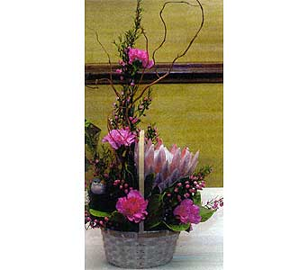 Basket w/ King protea and carns Bird and birdsnest in Sioux Falls SD, Country Garden Flower-N-Gift