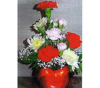 fresh arrangement in heart-shaped vase in Sioux Falls SD, Country Garden Flower-N-Gift