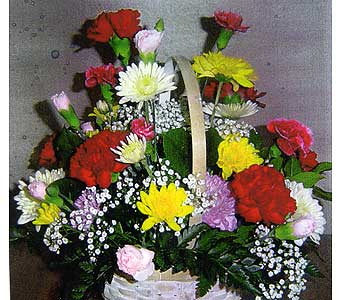fresh arrangement in white wickeer basket carnations and poms in Sioux Falls SD, Country Garden Flower-N-Gift