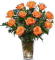 <FF156OR Dozen Orange Roses Arranged in Vase in Oklahoma City OK, Array of Flowers & Gifts