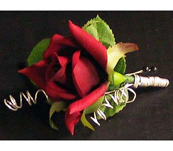 Silk rose boutonniere in Hudson NH, Anne's Florals & Gifts