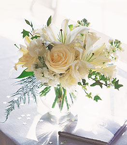 White Roses and Lilies in Norristown PA, Plaza Flowers