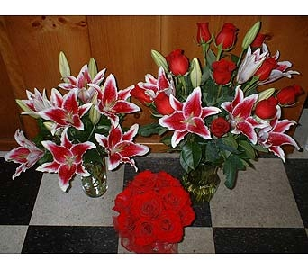 Red Rose & Lily Trio  - very popular!!! in Dallas TX, Z's Florist