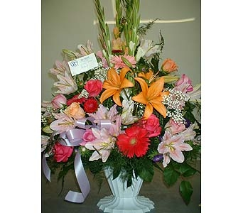 Bright Assorted Colors - Funeral Basket Spray in Dallas TX, Z's Florist