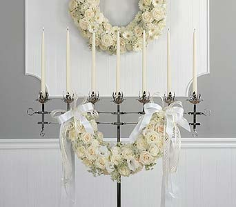 White Floral Wreath and Candelabra Swag in Portland ME, Dodge The Florist