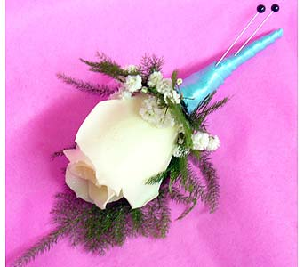 White Rose Blue Satin in Massapequa Park NY, Bayview Florist & Montage  1-800-800-7304
