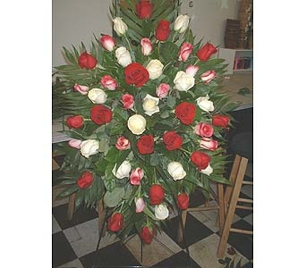 Red, White & Pink Roses - Standing Easel Spray in Dallas TX, Z's Florist