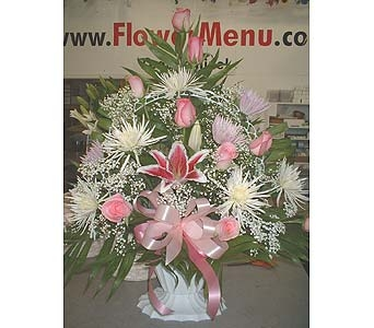 Pink, White & Purple Mix- Funeral Basket Spray in Dallas TX, Z's Florist