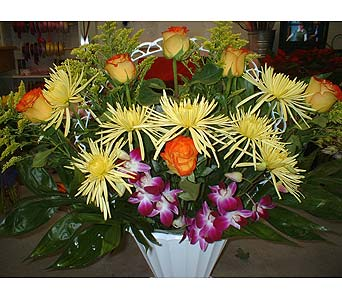 Oranges, Yellows, Purples Mix - Funeral Basket Spr in Dallas TX, Z's Florist