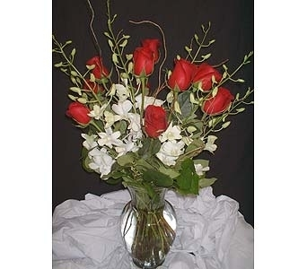Red Roses w/ White Orchids in Dallas TX, Z's Florist