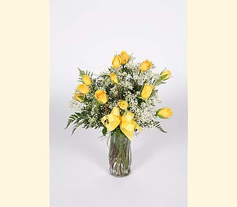 One Dozen Yellow Roses Vased in Southampton PA, Domenic Graziano Flowers