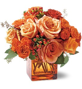 Teleflora's Orange Rose Mosaic in Menomonee Falls WI, Bank of Flowers