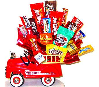 CB129 ''The Chief'' Fire Truck Candy Bouquet in Oklahoma City OK, Array of Flowers & Gifts