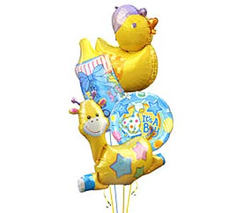 BB148B ''He's Here'' Balloon Bouquet in Oklahoma City OK, Array of Flowers & Gifts